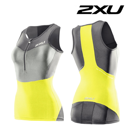 2XU(투엑스유)철인3종 경기복  2XU Women's G:2 Compression Tri Singlet (WT2702a) Charcoal Neon Yellow