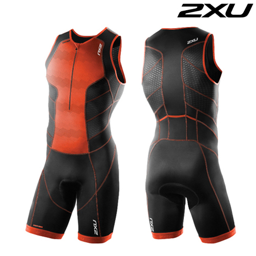 2XU 철인3종 경기복  Men's Perform Front Zip Trisuit- 2016  MT3858d(Desert Red Print Black)