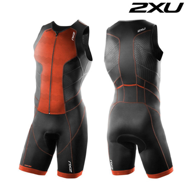 2XU 철인3종 경기복  Men's Perform Full Front Zip Tri Suit - 2016  MT3859d(Black Desert Red)