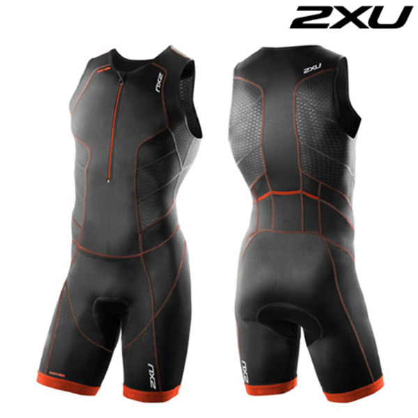 2XU(투엑스유)철인3종 경기복 Men's Perform Front Zip Trisuit- 2016 MT3858d(Black Desert Red)