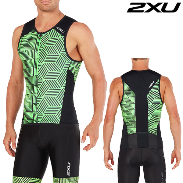 2XU 철인3종 경기복(투피스타입) Men's Perform Tri SetMT4851a/MT4854b(Black/Geo Neon Green)