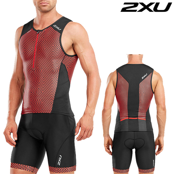 2XU 철인3종 경기복(투피스타입)  Men's Perform Tri SetMT4851a/MT4854b(Black/Kona Team Red)