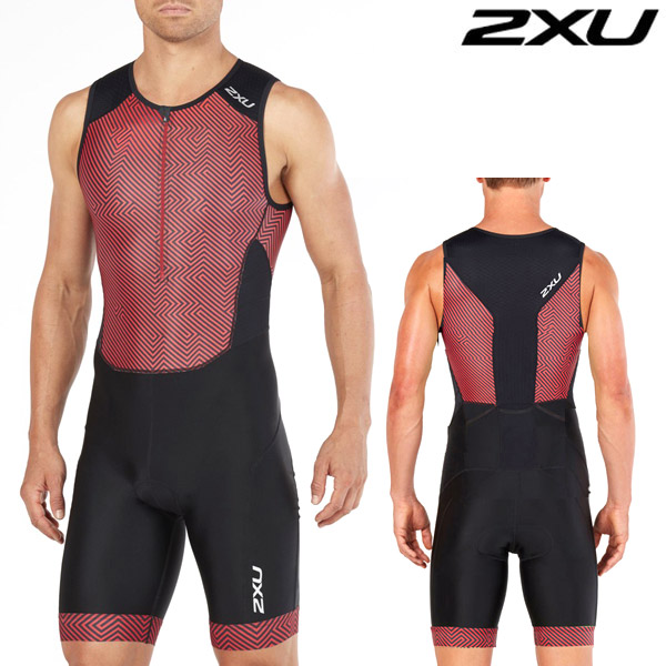 2XU 철인3종 경기복  Men's Perform Full Zip Sleeved TriSuit - Black/Kona Team MT4847d  Red