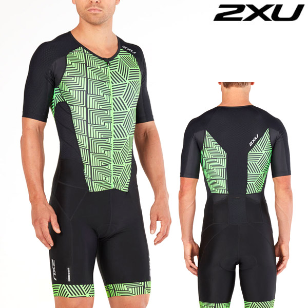 2XU 철인3종 경기복(원피스타입)Perform Full Zip Sleeved TriSuit Black/Geo Neon Green MT4847d