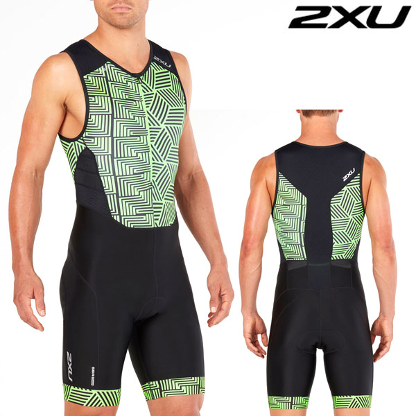 2XU 철인3종 경기복  Men's Perform Front Zip TriSuit -Black/Geo Neon Green MT4848d