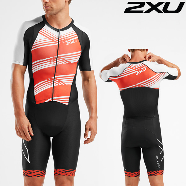 2XU(투엑스유)철인3종 경기복(원피스타입) Men's Compression Full Zip Sleeved Trisuit MT5516d-BLK/WFL