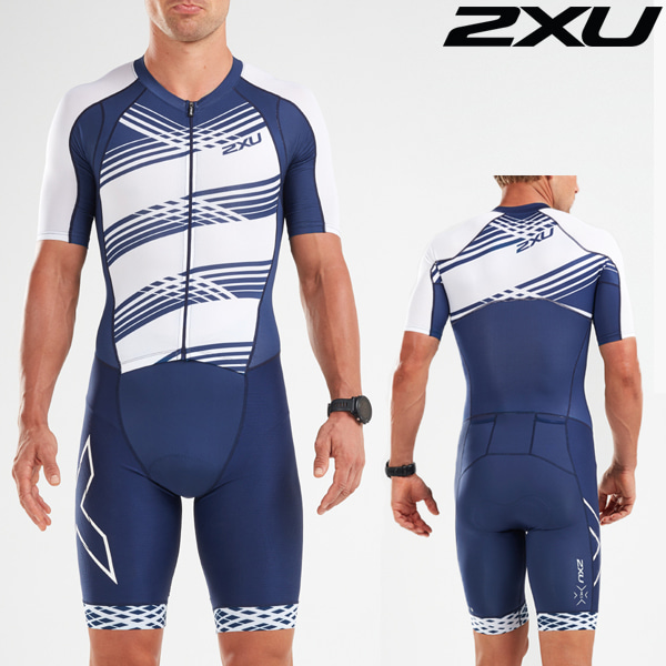 2XU(투엑스유)철인3종 경기복(원피스타입) Men's Compression Full Zip Sleeved Trisuit MT5516d-NVY/NWL