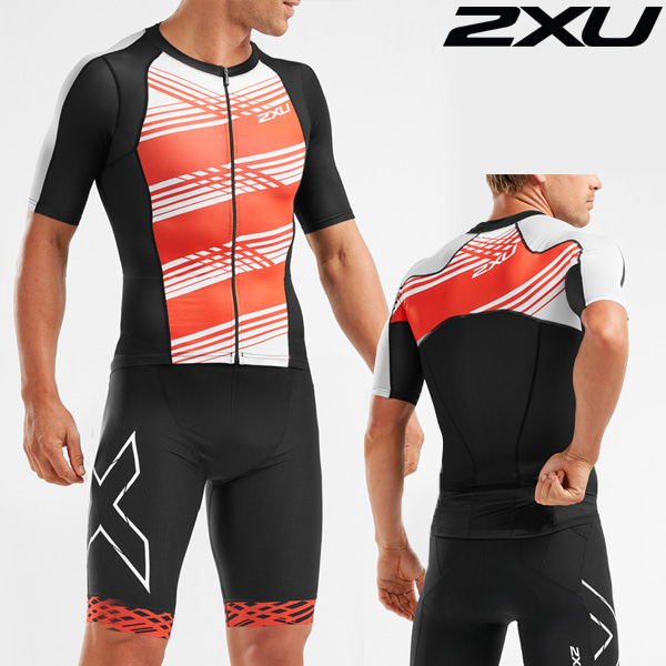 2XU(투엑스유)철인3종 경기복 Men's Compression Sleeved Top MT5518a-BLK/WFL