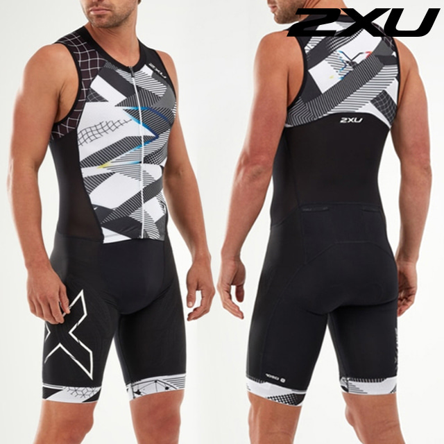 2XU 남성 철인3종 경기복 원피스 Men's Compression Full Zip MT5517d BLK CRO