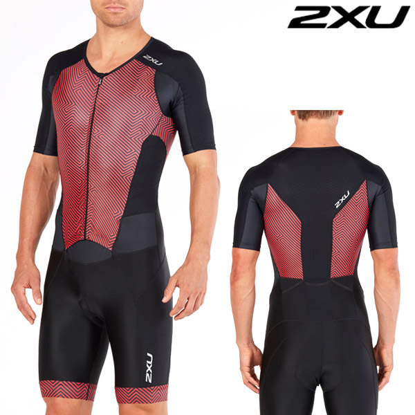 2XU 철인3종 경기복(원피스타입) Men's Perform Front Zip TriSuit Black/Kona Team Red MT4847d