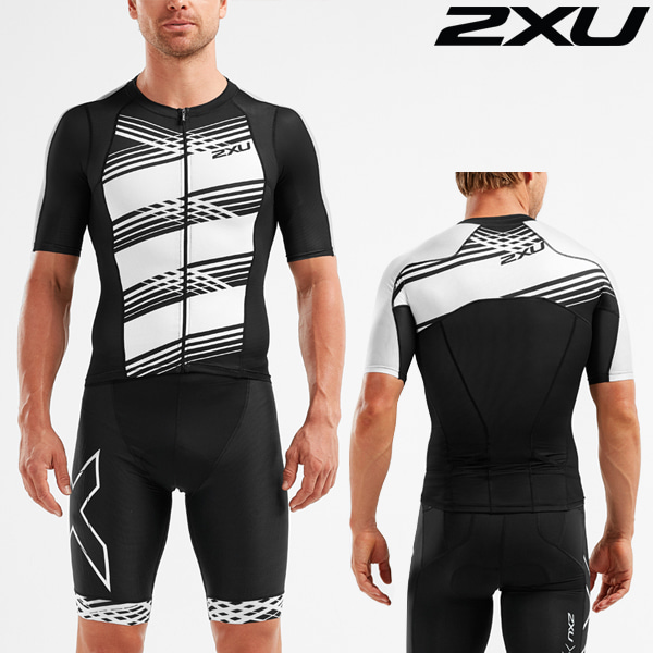 2XU 철인3종 경기복 Men's Compression Sleeved Top MT5518a-BLK/BWL