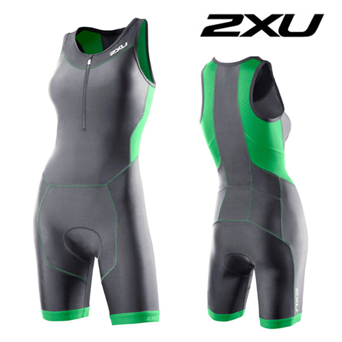 2XU(투엑스유)철인3종 경기복 Women's Perform Trisuit (WT2707d) Charcoal/Astro Green